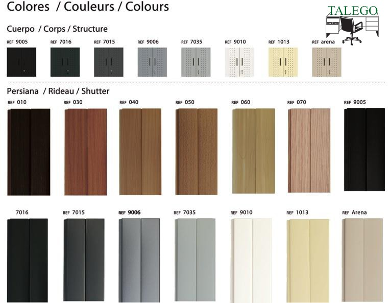 Colores disponibles para los armarios de persiana