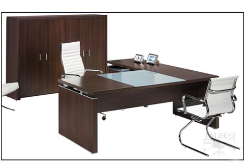 Mesa despacho con baden para encimera y ala auxiliar de la serie lomata