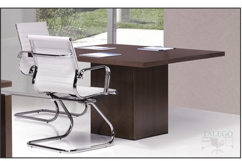 Mesa de juntas cuadrada con pie cubico en madera serie lomata
