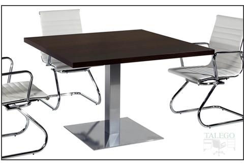 Mesa de Juntas cuadrada con pie metalico central en color wengue