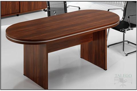 Mesa de Juntas oval en nogal con pata madera