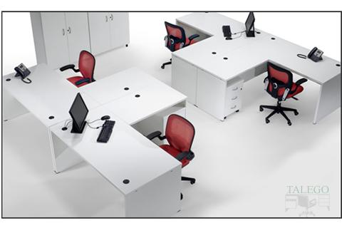 Combinación de mesas con ala en gris de la serie 2000