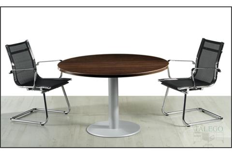 Mesa de Juntas Redonda en Wengue con pie Métalico en gris Aluminizado
