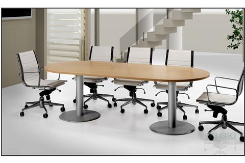 Mesa de juntas ovalada con dos pies metalicos en haya