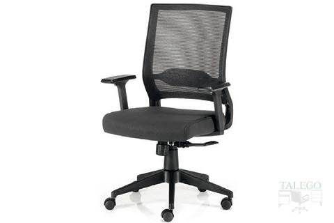 Vista Frontal sillón Giratorio Sidneyta carcasa negra y respaldo de malla