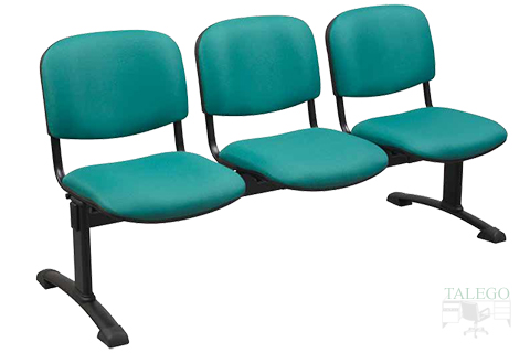 bancada de tres plazas modelo aries con respaldo y asiento tapizados