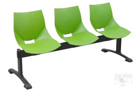 Bancada de tres plazas modelo calipso color verde con el respaldo liso