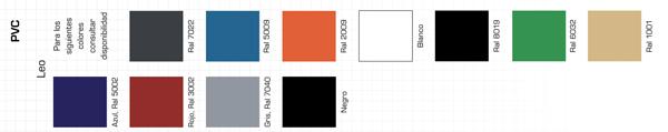 Relación de colores posibles para carcasa silla leo