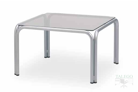 mesa de espera cuadrada cristal estructura metalica