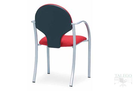 Vista trasera silla oficina fija modelo icaro tapizada en tela roja