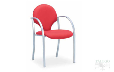 Silla fija estructura metalica tapizada roja modelo icaro