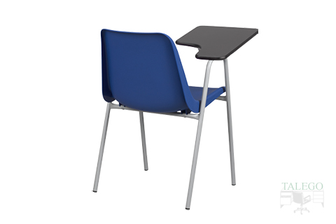 Vista trasera de silla modelo leo con pala auxiliar de escritura