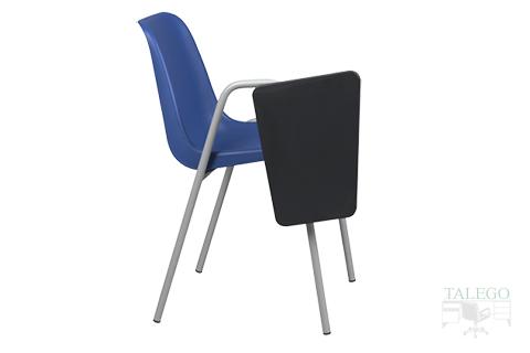 Vista lateral silla de carcasa azul modelo leo con pala abatible