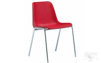 silla monocasco roja modelo leo estructura métalica