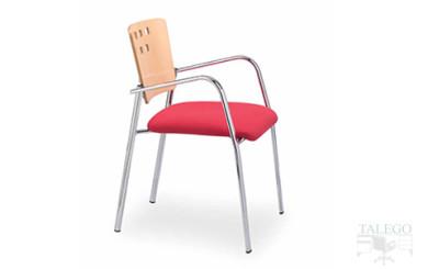 silla con respaldo de haya y asiento tapizado en rojo modelo selene