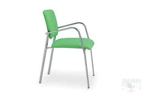 Vista lateral silla modelo selene tapizado en tela verde