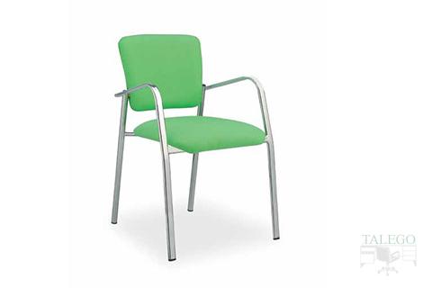 Silla fija con cuatro patas y brazos modelo selene tapizado en tela verde