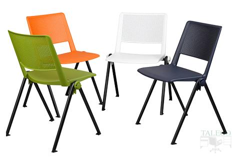 Composición de varias sillas fijas del modelo star en diferentes colores con respaldo tapizado