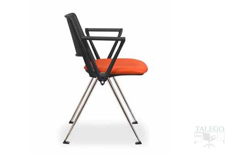 Vista lateral silla con brazos modelo star naranja y respaldo negro