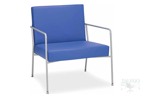 Sofa de una plaza para sala de espera modelo lince tapizado en azul