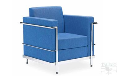 Foto sofa de una plaza modelo luxon tapizado en azul