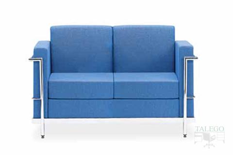 Sofa de dos plazas modelo luxor tapizado en tela azul