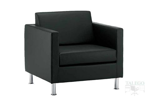 Sofa de una plaza para sala de espera modelo menfis tapizado en negro