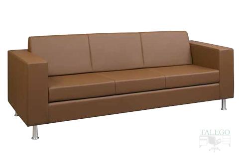 Sofa de tres plazas con brazo ancho modelo menfis tapizado en marrón para sala de espera