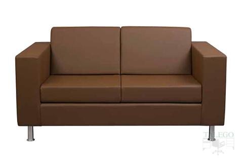 Sofa de dos plazas con el brazo ancho modelo menfis cinco tapizado en marrón
