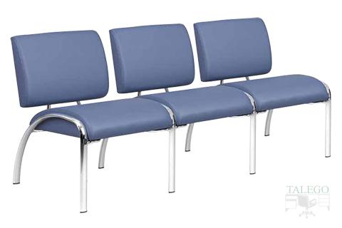 sofa de tres plazas modelo neo tapizado con estructura de tubo eliptico