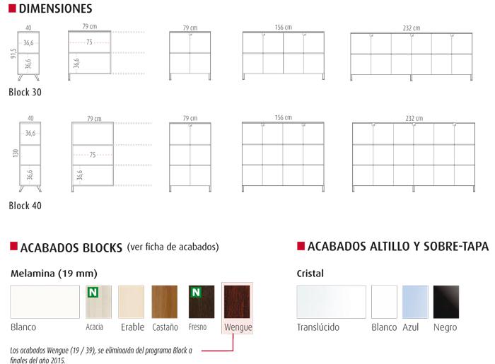 medidas y colores de armarios block