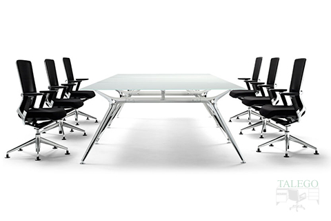 Mesa de Juntas Rectangular de la Serie Arkitek en cristalk