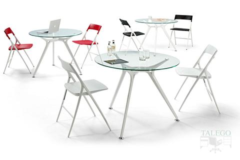 Composición con mesas de juntas Redondas en Cristal de la Serie Arkitek