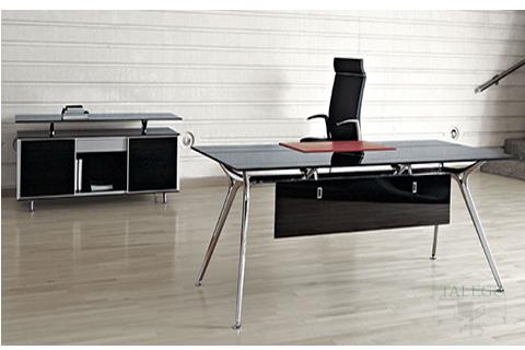 Mesa despacho Arkitek en vidrio negro con estructura aluminio cromada