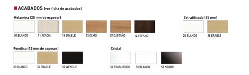 Colores de Tableros para mesa modelo Vital
