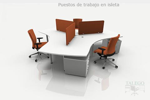 Proyecto multipuesto de trabajo en blanco con divisorias de mesa
