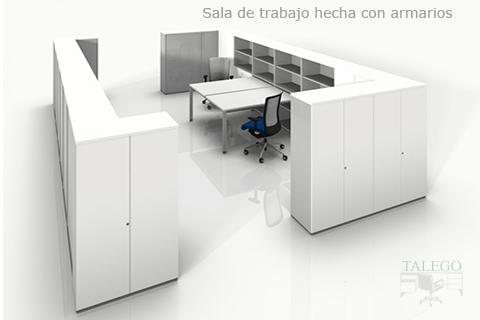 Proyecto de puesto de trabajo con armarios en torno