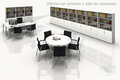 Proyecto mesa redonda con armarios de archivo