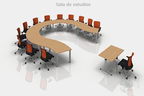 Proyecto mesas modulares formando mesa redonda