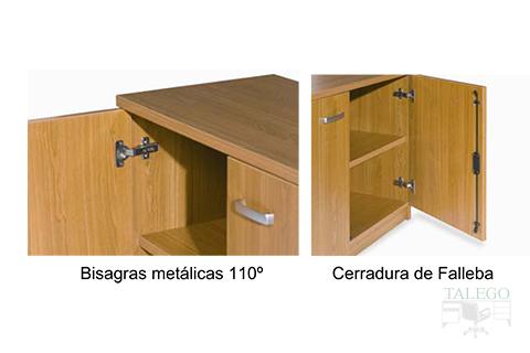 Detalle de las bisagras metalicas incorporados a los armarios ch