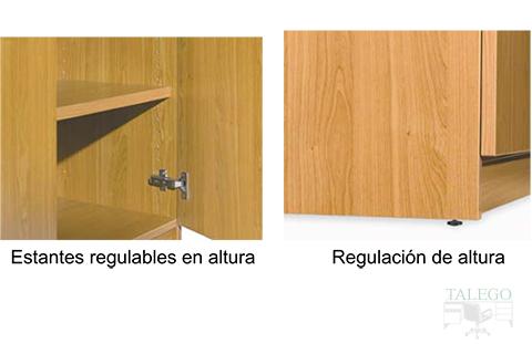 Detalle de la regulación de las puertas en armario ch