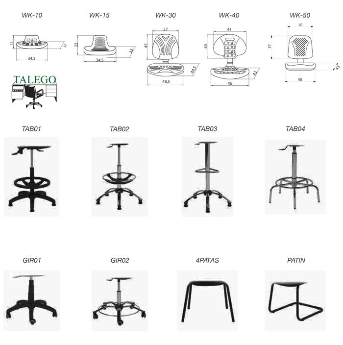 Ejemplos de bases y asientos combinables en taburetes work in