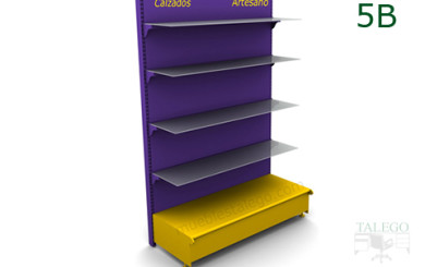 Modulo de estanteria 5b en lila y amarillo con cuatro estantes de cristal