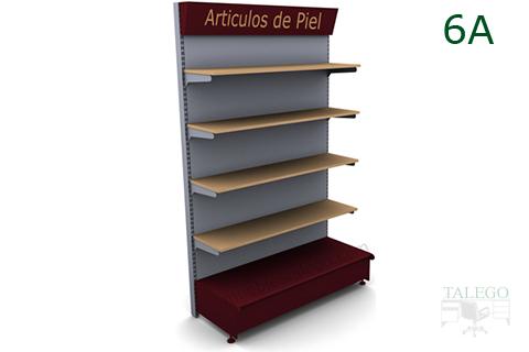Modulo de comercio 6A con estantes de madera y visera informativa