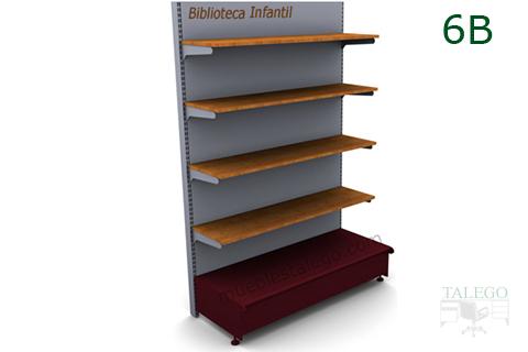 Modulo de Estanteria comercio 6B con cuatro estantes de madera
