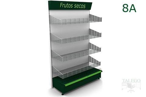 Modulo estanteria de comercio con cestos y visera superior en verde