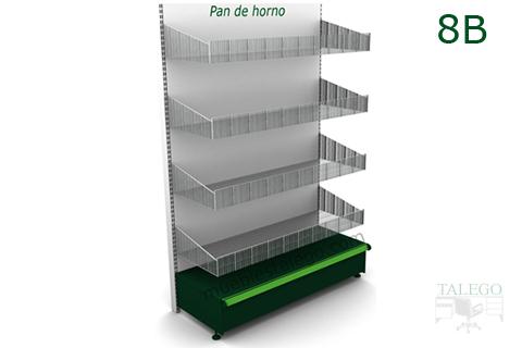 Modulo de estanteria con cuatro cestos de rejilla en blanco y verde