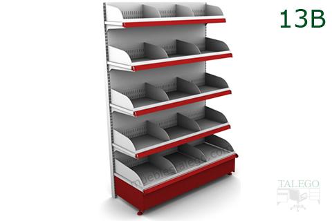 Modulo estanteria de comercio en blanco y rojo con divisorias sobre bandejas reforzadas