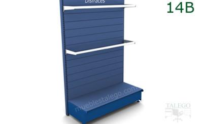 Modulo estanteria de comercio con 2 percheros cromados y resto en azul