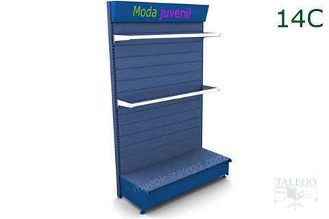 Estanteria de comercio con visera informativa y 2 barras perchero cromadas
